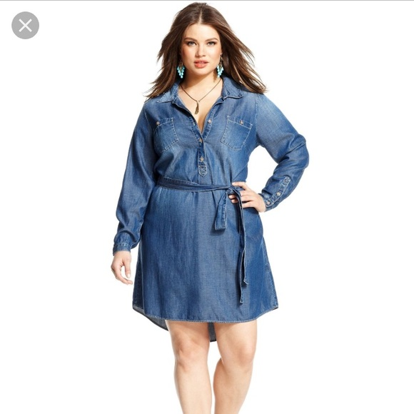 Lucky Brand plus size denim chambray shirt dress